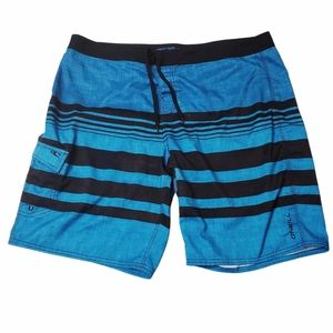 O'Neill Blue Striped Board Shorts Size 44